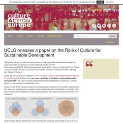UCLG releases a paper on the Role of Culture for Sustainable Development