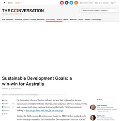 Sustainable Development Goals: a win-win for Australia