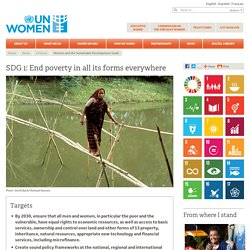 In focus: Women and the Sustainable Development Goals (SDGs): SDG 1: No poverty