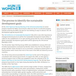 The process to identify the Sustainable Development Goals (SDGs)