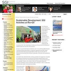 Sustainable Development: SGI Activities at Rio+20