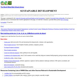 The World Wide Web Virtual Library: Sustainable Development