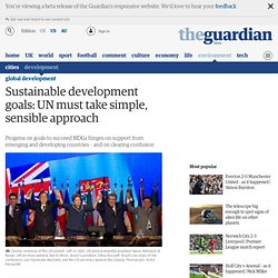 Sustainable development goals: UN must take simple, sensible approach