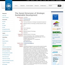 The Social Dimension of Strategic Sustainable Development (Licentiate by Merlina Missimer) - Electronic Research Archive @ Blekinge Institute of Technology (BTH)