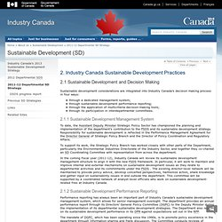 2. Industry Canada Sustainable Development Practices - Sustainable Development