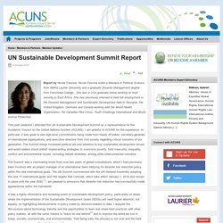 UN Sustainable Development Summit Report