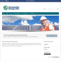 Green Energy Jobs | Sustainable Energy Jobs | Green Jobs
