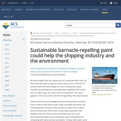 Sustainable barnacle-repelling paint could help the shipping industry and the environment - American Chemical Society