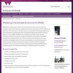 Institute of Health: Wellbeing in Sustainable Environments (WISE)