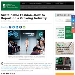 Sustainable Fashion—How to Report on a Growing Industry - Reynolds Center