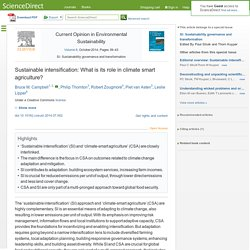 Current Opinion in Environmental Sustainability Volume 8, October 2014 Sustainable intensification: What is its role in climate smart agriculture?