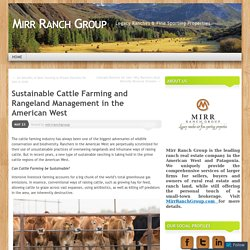 Sustainable Cattle Farming and Rangeland Management in the American West