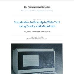 Sustainable Authorship in Plain Text using Pandoc and Markdown