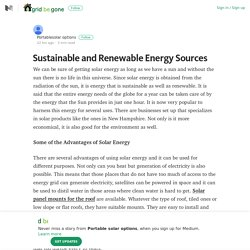 Sustainable and Renewable Energy Sources