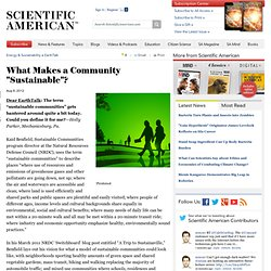 "What Makes a Community ""Sustainable""?"