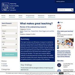 Sutton Trust - What makes great teaching?