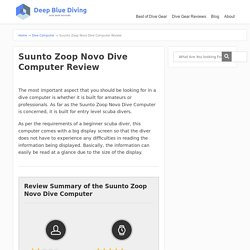 Suunto Zoop Novo Dive Computer Review - Scuba Diving Gear