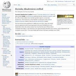 Svenska Akademiens ordbok - Wikipedia