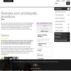Svenska som andraspråk, grundkurs, 30 hp - lnu.se