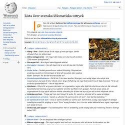 Lista över svenska idiomatiska uttryck