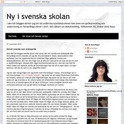 Ny i svenska skolan: Ämnet svenska som andraspråk