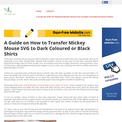 A Guide on How to Transfer Mickey Mouse SVG to Dark Coloured or Black Shirts