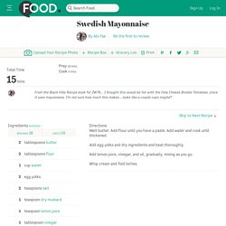 Swedish Mayonnaise Recipe