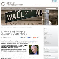 "2015 Will Bring ""Sweeping Changes"" to Capital Markets - Thought Leaders"