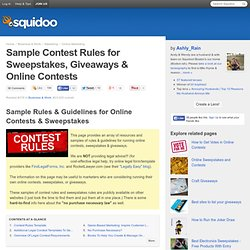 Sample Contest Rules for Sweepstakes, Giveaways & Online Contests