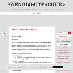 SWENGLISHTEACHER'S - ENG 6 - DISCUSSION ESSAY