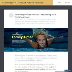 Swimming Pool Maintenance – How to Keep Your Pool Water Clean?