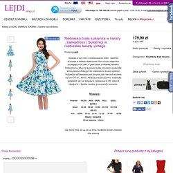 Sukienka w niebieskie kwiaty vintage - Sklep internetowy Lejdi-Sklep.pl