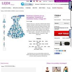 Sukienka w niebieskie kwiaty vintage 001 - Sklep internetowy Lejdi-Sklep.pl
