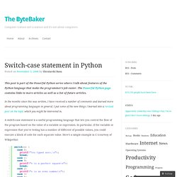 Switch-case statement in Python « The ByteBaker