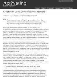 Creation of Direct Democracy in Switzerland « Activating Democracy