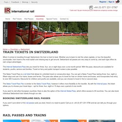 Book Train Tickets for Switzerland from International Rail