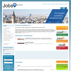 Jobs in Zurich - Switzerland - for English Speaking Professionals