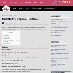 SWTOR Festival of Splendor Event Guide