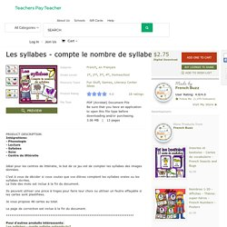 Les syllabes - compte le nombre de syllabes -... by French Buzz