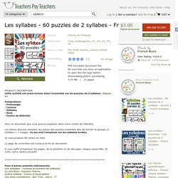 Les syllabes - 60 puzzles de 2 syllabes -... by French Buzz