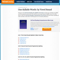 One Syllable Words Sorted by Vowel Sound