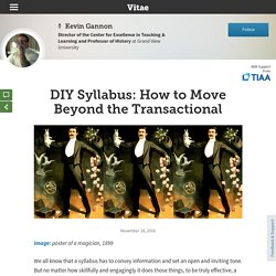 DIY Syllabus: How to Move Beyond the Transactional