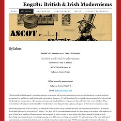 Eng181: British & Irish Modernisms