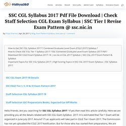 SSC CGL Syllabus 2017 - Combined Graduate Level Exam Pattern, SSC CGL Exam Guide @ ssc.nic.in