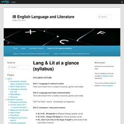 IB English Language and Literature » Lang & Lit at a glance (syllabus)