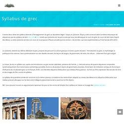 Syllabus de grec – Langues anciennes
