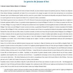 Syllabus : Le procès de Jeanne d'Arc