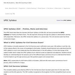 UPSC Syllabus 2020 for Prelims, Mains and Interview - Elite IAS