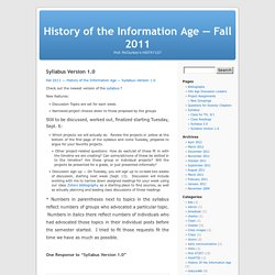 Syllabus Version 1.0 « History of the Information Age — Fall 2011