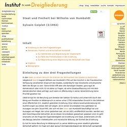 Sylvain Coiplet - Staat und Freiheit bei Wilhelm von Humboldt